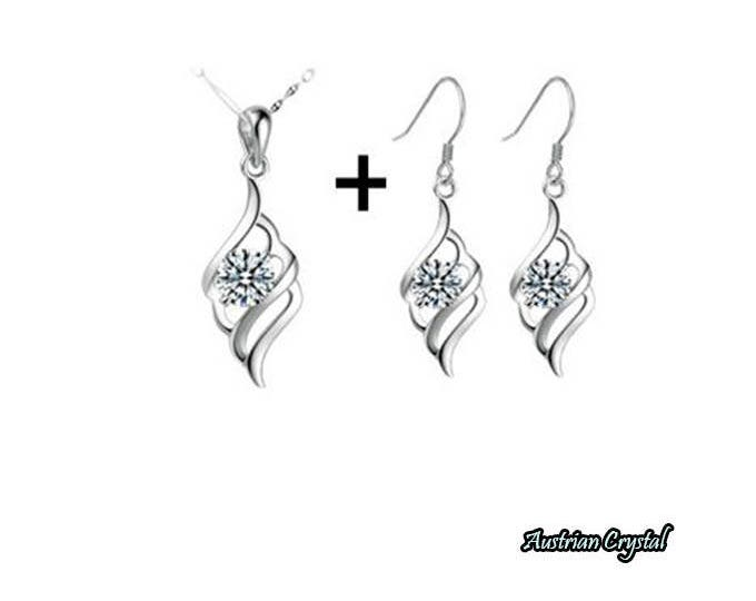 Hot Fashion Crystal Jewelry Set Earrings, Pendant and Necklace