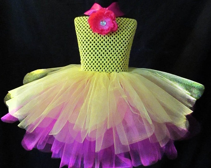 Extended Sizes Brilliant Yellow and Pink Dress