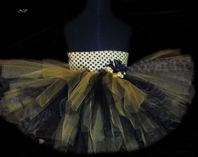 Yellow & Black Zebra Layered Tutu Dress