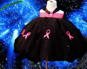 Black and Pink Petal Awareness Tutu Dress