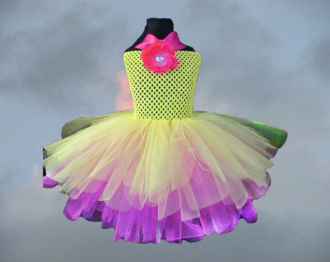Children's Shocking Pink and Yellow Tutu Dress