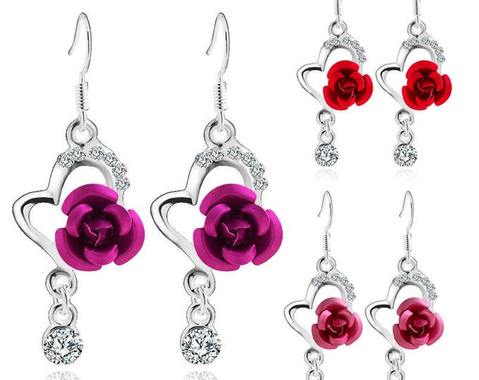 Chic Heart and Pearlized Rose with Crystal accents Drop Earrings Jewelry