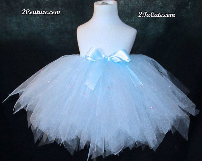 Couture Baby Blue and Pearls Skirt