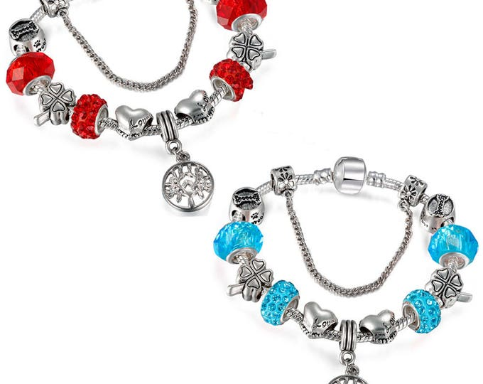 Staggering Tree of Life Silver and Crystal Gems Charm Bracelet