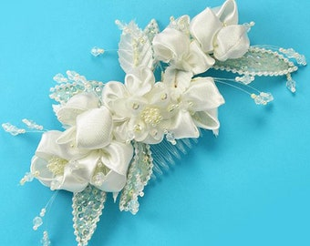 Ivory Bridal Satin Flower and Pearls Head Piece