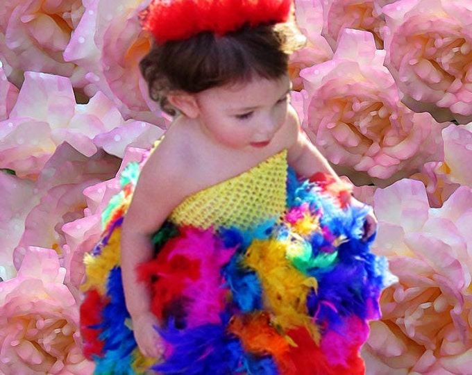 Lighted Rainbow Feather Tutu Dress