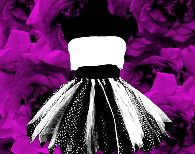 Black & White Polka Dot Adult Tutu Skirt