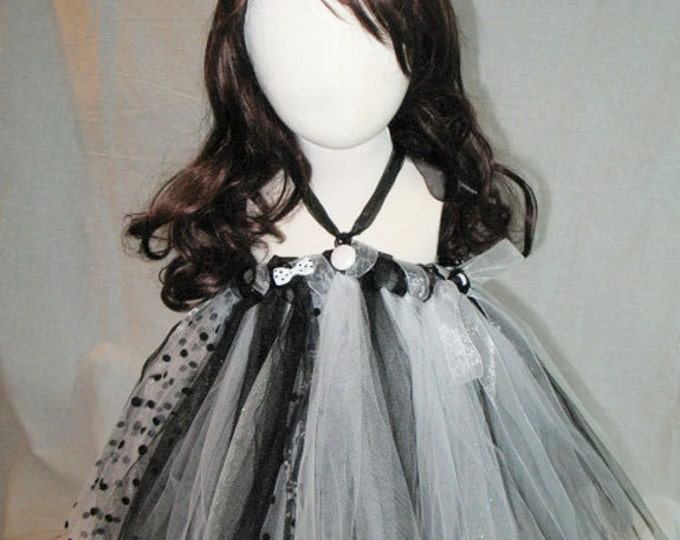 Child's Black & White Polka Dot Tutu Dress/Skirt