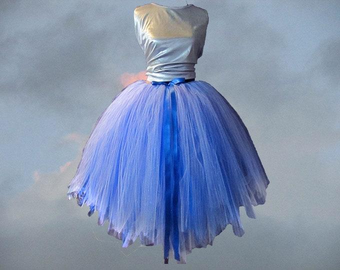 Women's Full Blue Pinstripe Skirt