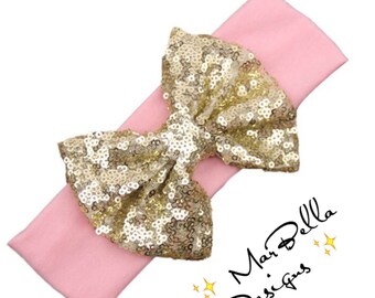 Oversized Sequin Bow Headband/Headwrap