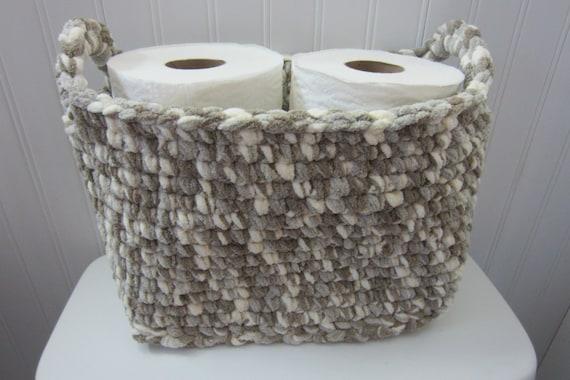 Large Basket Rectangle Crocheted Storage Bin Toilet Tank Etsy