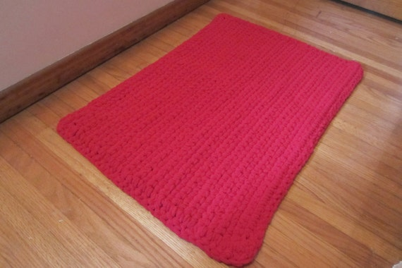 Washable Throw Rug Crocheted Rectangle Mat Rag Rug Style