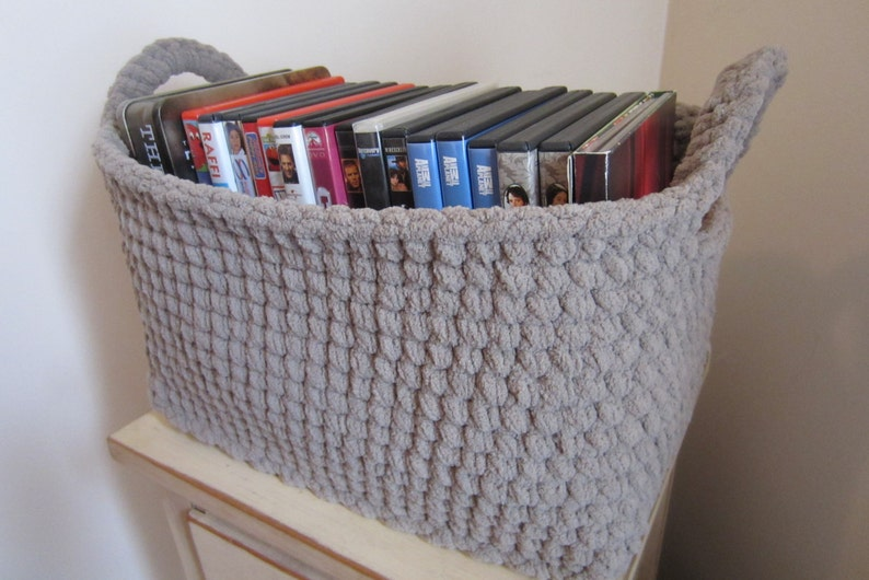 Large Storage Bin Storage Basket Crocheted Box Rectangle image 0