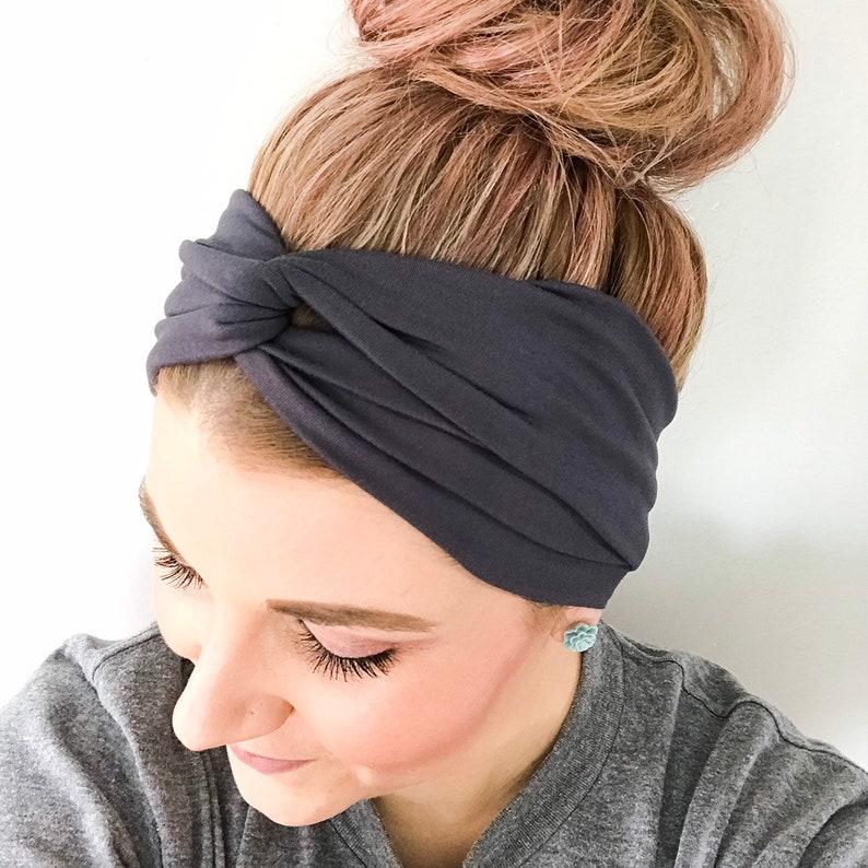 10df800509ce Graphite Grey Turban Headband Headbands for Women Dark