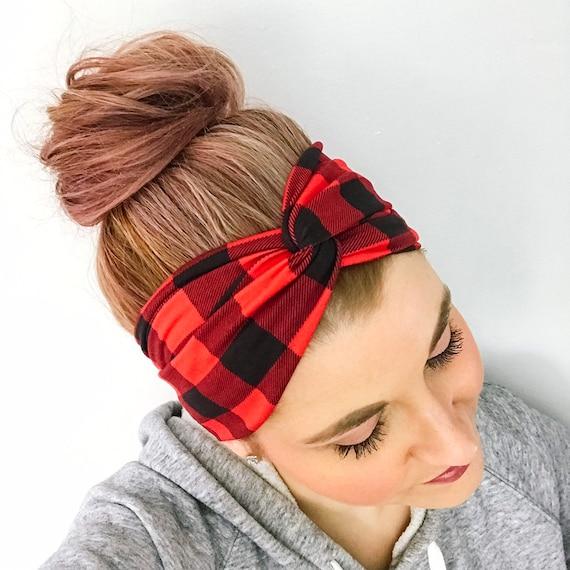Buffalo Plaid Turban Headband Lumberjack Headbands for  af093e1d08e