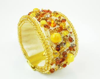 Beaded felted cuff bracelet. Cuff Beaded Bracelet with Amber beads. Handmade Bracelet Beaded Embroidery.