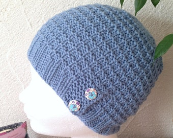 LIQUIDATION - Bonnet tricot femme ou ado coloris bleu denim structuré c6f6d6b28b1