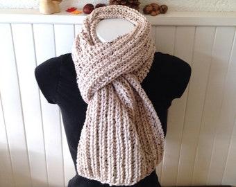 Echarpe grosses mailles XL et très longue pour homme, , bien chaude et  épaisse tricotée main en laine et acrylique tweed écru 2a2bc727e23