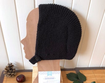 """Chic crush hat """"Brody"""" baby 9 to 12 months, retro/vintage black hat, handmade knitted"""