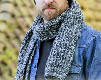 Hand knitted to order - two-tone or one color scarf for men faux English coast, 100% wool, choose colors