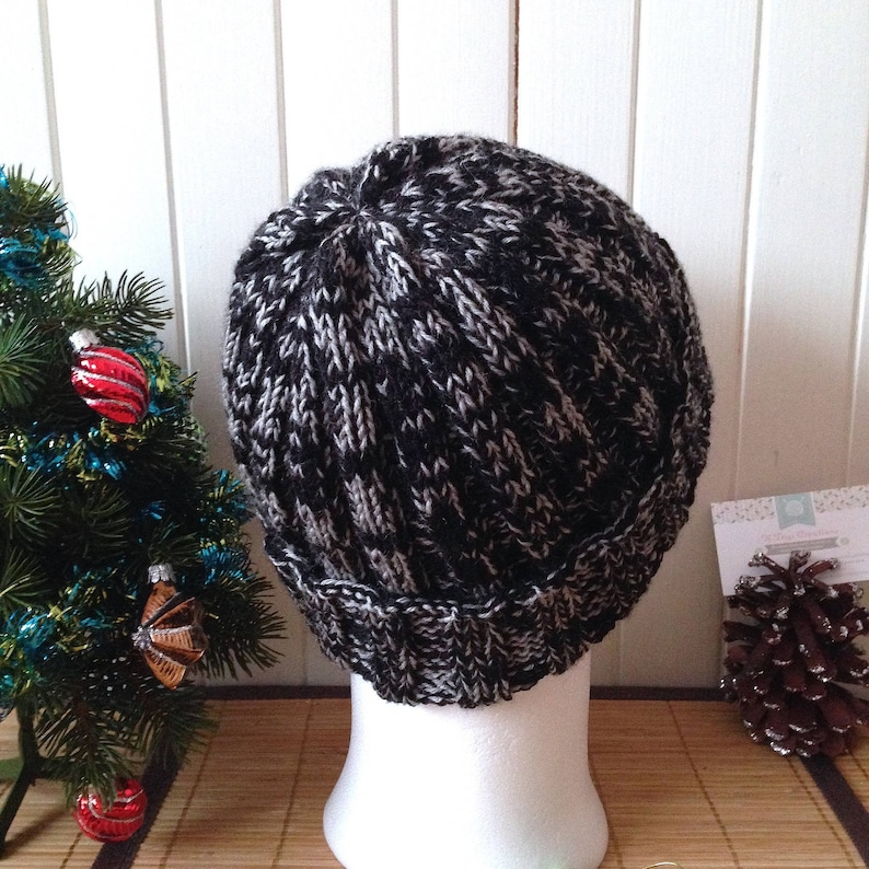 teen or unisex dark grey Merino and cashmere Two-tone Nolan thick and warm with reverse wool cap for men