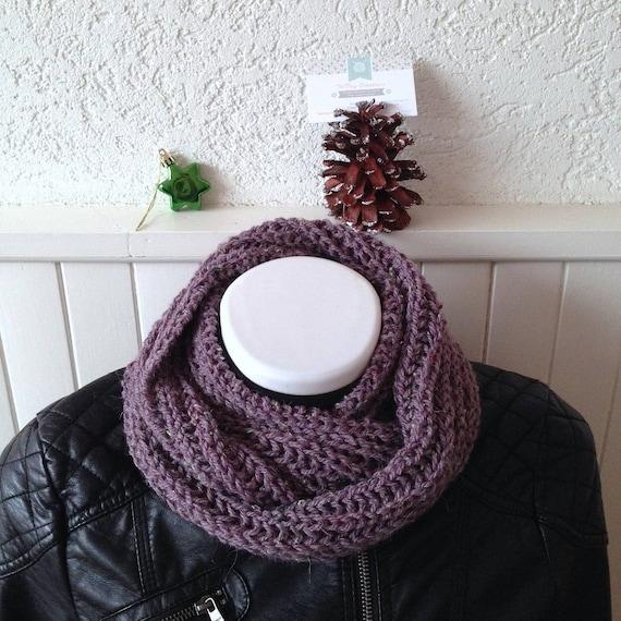 Snood tricot grosses mailles XL femme laine acrylique et   Etsy 4e6a9b68cb6