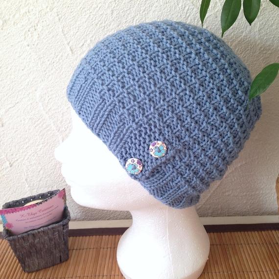 LIQUIDATION - Bonnet tricot femme ou ado coloris bleu denim structuré a71a8d58e79