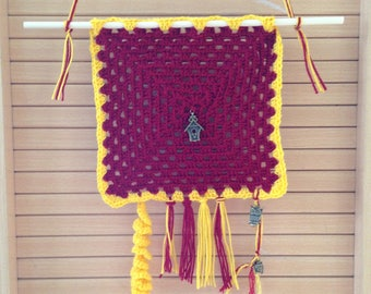 Tapestry wall hanging made by crochet