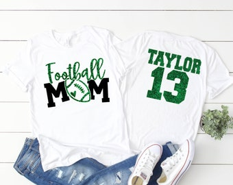 Glitter Football Shirt   Football Mom Shirts   Football Shirts   Cute Football Mom Shirts   Custom Football Mom Shirt with Name and Number