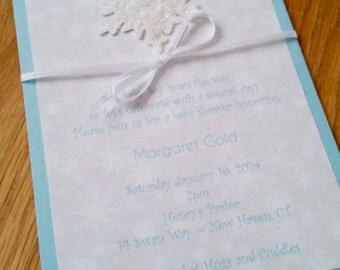 Winter's Miracle (Winter themed Baby Shower invitation - LaMorA Invitations)