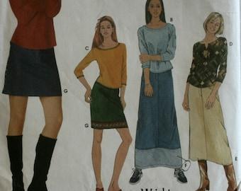 Girl's Skirt Sewing Pattern - Juniors Skirt Sewing Pattern - Junior Top Sewing Pattern - New - Uncut - Size Junior and Extended Sizes