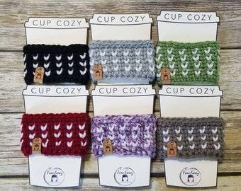 Crochet coffee tea cozy sleeve - regular size with hearts, modern, boho