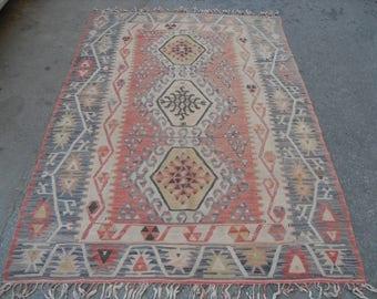PASTEL kilim rug, 90'' x 58'' Vintage Turkish rug, area rug, vintage rug, bohemian rug, eccentric rug, anatolian rug, Turkish rug,rugs