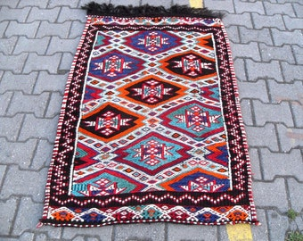 free shipping VINTAGE TURKİSH mut cecim kilim Anatolian handwoven kilim rug decorative kilim - SİZE : 34'' X 52'' ( 87 cm X 130 cm)