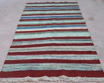 Stripped RED kilim, 110'' x 58'', kilim rug, rug, Vintage Turkish kilim rug, kelim rug, vintage rug, vintage textile, Turkish rug