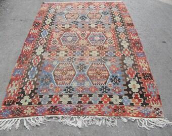 free shipping VINTAGE TURKİSH eşme - ousak kilim Anatolian handwoven kilim rug decorative kilim - SİZE : 70'' X 120'' ( 175 cm X 300 cm)