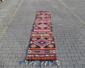 kilim rug runner free shipping VINTAGE TURKİSH antalya kilim Anatolian  kilim rug decorative kilim - SİZE : 32'' X 165'' ( 80 cm X 405 cm)