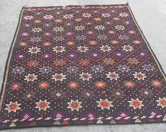 kilim rug free shipping VINTAGE TURKİSH antalya cecim kilim Anatolian  kilim rug decorative kilim - SİZE : 72'' X 96'' ( 180 cm X 240 cm)