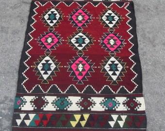 free shipping VINTAGE TURKİSH blackgoats kilim Anatolian handwoven kilim rug decorative kilim - SİZE : 33'' X 58'' ( 83 cm X 145 cm)