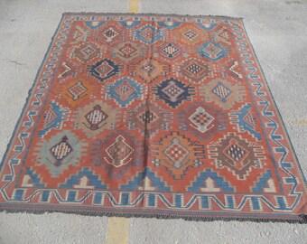 """Red Kilim rug, 66"""" x 82"""", Vintage Turkish kilim rug, area rug, kilim rug, kelim rug, vintage rug, bohemian rug, Turkish rug, red rug,"""