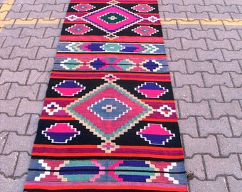 free shipping VINTAGE TURKİSH antalya runner kilim Anatolian handwoven kilim rug decorative kilim - SİZE : 32'' X 149'' ( 82 cm X 373 cm)