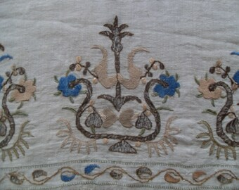 """free shipping  OTTOMAN  silk embroidered scarves  SİZE =  19"""" X 50"""" ( 48 cm X 125 cm)"""