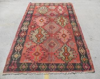 "76"" x 140"" red and black Kilim runner, Vintage Turkish kilim rug, kilim rug, red area rug, vintage furniture, floor decor"