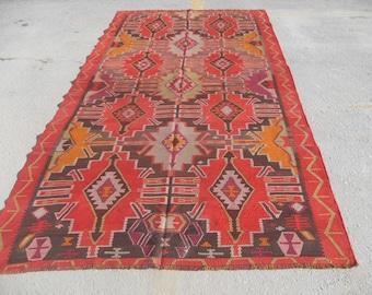 "128"" x 62"" Kilim rug, Vintage Turkish rug, area rug, vintage rug, bohemian rug, eccentric rug, anatolian"