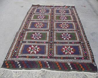 kilim rug free shipping VINTAGE TURKİSH kozak kilim Anatolian handwoven kilim rug decorative kilim SİZE - 64'' X 114'' ( 160 cm X 285 cm)