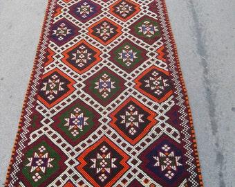 free shipping VINTAGE TURKİSH mut cecim kilim Anatolian handwoven kilim rug decorative kilim - SİZE : 46'' X 122'' ( 115 cm X 305 cm)
