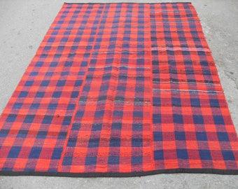 "Red blue Kilim rug, Vintage Turkish kilim rug, 104"" x 70"", area rug, kilim rug, kelim rug, vintage rug, bohemian rug, Turkish rug, blue, red"