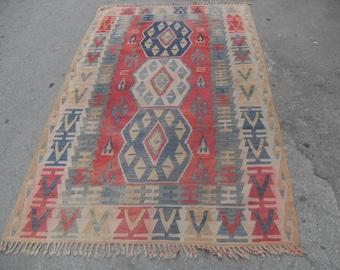 "Diamond design kilim rug, 96"" x 56"" ,red kilim rug, Vintage Turkish rug, pastel kilim rug, kelim, vintage rug, bohemian rug, ( free cargo )"