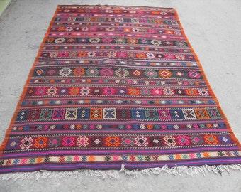 "Turkish Kilim rug, area rug, rug, vintage rug, bohemian rug, Turkish rug, rug, Soft color kilim, rug, SİZE = 64"" X 108"" ( 160 cm X 270 cm )"