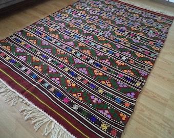 free shipping VINTAGE TURKİSH cecim kilim Anatolian handwoven kilim rug  decorative kilim - SİZE : 68'' X 102 '' (170 cm X 256 cm)